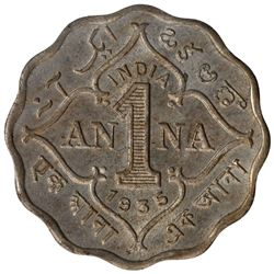 Copper Nickel One Anna Coin of King George V of Calcutta Mint of 1935.