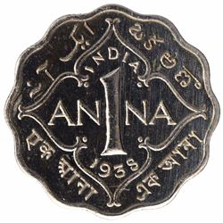 Copper Nickel One Anna Proof Coin of King George VI of Calcutta Mint 1938.