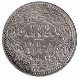Silver Two Annas Coin of Victoria Queen of Bombay Mint of 1874.