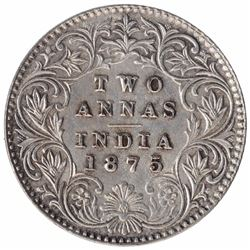Silver Two Annas Coin of Victoria Queen of Calcutta Mint of 1875.
