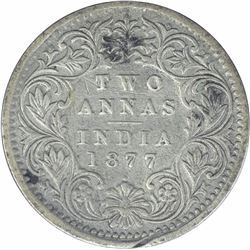 Silver Two Annas Coin of Victoria Empress of Bombay Mint of 1877.