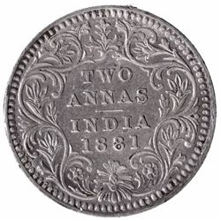 Silver Two Annas Coin of Victoria Empress of Calcutta Mint of 1881.
