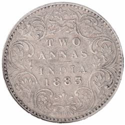 Silver Two Annas Coin of Victoria Empress of Bombay Mint of 1883.