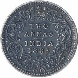 Silver Two Annas Coin of Victoria Empress of Calcutta Mint of 1883.