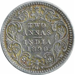 Silver Two Annas Coin of Victoria Empress of Calcutta Mint of 1890.