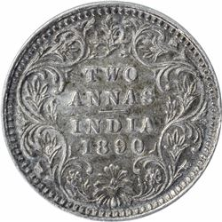 Silver Two Annas Coin of Victoria Empress of Bombay Mint of 1890.