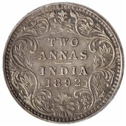 Silver Two Annas Coin of Victoria Empress of Bombay Mint of 1892.