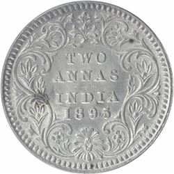 Silver Two Annas Coin of Victoria Empress of Calcutta Mint of 1895.