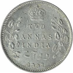 Silver Two Annas Coin of King Edward VII of Calcutta Mint of 1907.