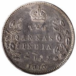 Rare Silver Two Annas Coin of King Edward VII of Bombay Mint of 1910.