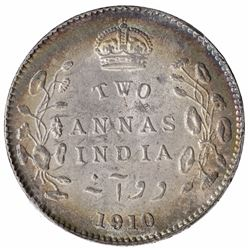 Silver Two Annas Coin of King Edward VII of Calcutta Mint of 1910.