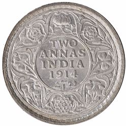 Silver Two Annas Coin of King George V of Calcutta Mint of 1914.