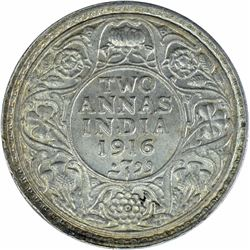 Silver Two Annas Coin of King George V of Calcutta Mint of 1916.