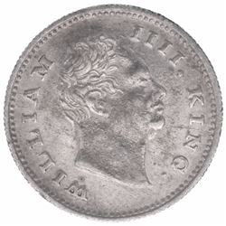 Silver One Quarter Rupee Coin of King William IIII of Bombay Mint of 1835.