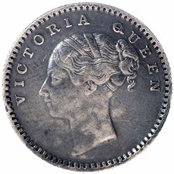 Silver One Quarter Rupee Coin of Victoria Queen of Madras Mint of 1840.