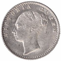 Silver One Quarter Rupee Coin of Victoria Queen of Calcutta Mint of 1840.