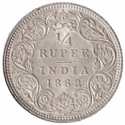 Silver One Quarter Rupee of Victoria Queen of Calcutta Mint of 1862.