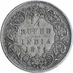 Silver One Quarter Rupee Coin of Victoria Queen of Bombay Mint of 1874.