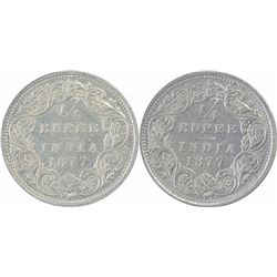 Silver One Quarter Rupee Coins of Victoria Queen of Bombay Mint of 1877.