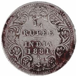 Silver One Quarter Rupee Coin of Victoria Empress of Bombay Mint of 1881.