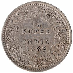 Silver One Quarter Rupee Coin of Victoria Empress of Calcutta Mint of 1882.