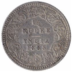 Silver One Quarter Rupee Coin of Victoria Empress of Calcutta Mint of 1883.