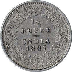 Silver One Quarter Rupee Coin of Victoria Empress of Bombay Mint of 1887.