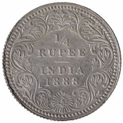 Silver One Quarter Rupee Coin of Victoria Empress of Calcutta Mint of 1888.
