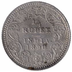 Silver One Quarter Rupee Coin of Victoria Empress of Calcutta Mint of  1890.