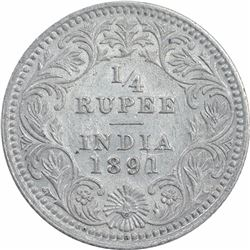 Silver One Quarter Rupee Coin of Victoria Empress of Calcutta Mint of 1891.