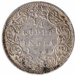 Silver One Quarter Rupee Coin of Victoria Empress of Bombay Mint of 1892.