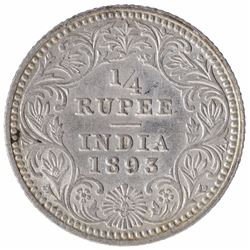 Silver One Quarter Rupee Coin of Victoria Empress of Calcutta Mint of 1893.