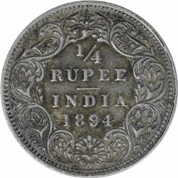 Silver One Quarter Rupee Coin of Victoria Empress of Bombay Mint of 1894.