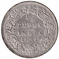 Silver One Quarter Rupee Coin of Victoria Empress of Bombay Mint of  1897.