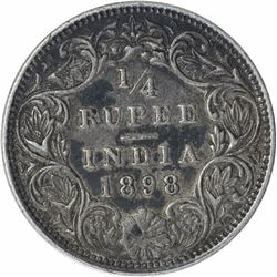 Silver One Quarter Rupee Coin of Victoria Empress of Bombay Mint of 1898.