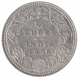 Silver One Quarter Rupee Coin of Victoria Empress of Calcutta Mint of 1898.