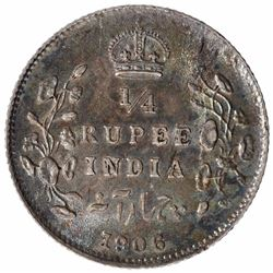 Silver One Quarter Rupee Coin of King Edward VII of Calcutta Mint of 1906.