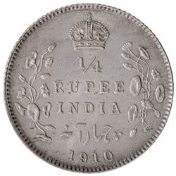 Silver One Quarter Rupee Coin of King Edward VII of Calcutta Mint of 1910.