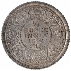 Silver One Quarter Rupee Coin of King George V of Calcutta Mint of 1912.