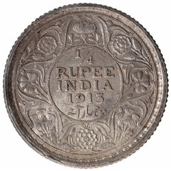 Silver One Quarter Rupee Coin of King George V of Calcutta Mint of 1913.