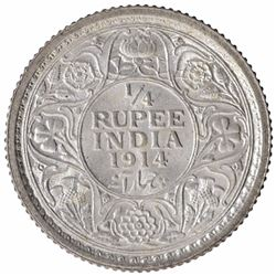 Silver One Quarter Rupee Coin of King George V of Calcutta Mint of 1914.