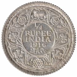 Silver One Quarter Rupee Coin of King George V Calcutta Mint of 1916.