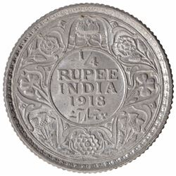 Silver One Quarter Rupee Coin of King George V of Calcutta Mint of 1918.