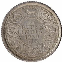 Silver One Quarter Rupee Coin of King George V of Calcutta Mint of 1930.