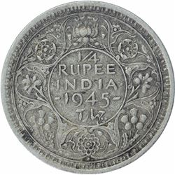 Rare Silver One Quarter Rupee Coin of King George VI of Bombay Mint of 1945.