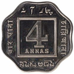 Copper Nickel Four Annas Proof Coin of King George V of Calcutta Mint of 1919.