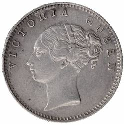 Silver Half Rupee Coin of Queen Victoria of Bombay Mint of 1840.