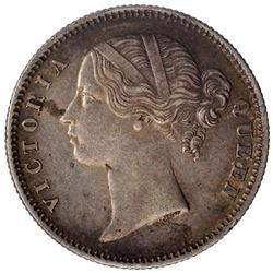 Silver Half Rupee Coin of Victoria Queen of Calcutta Mint of 1840.