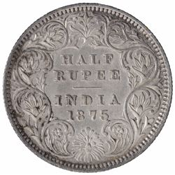 Silver Half Rupee Coin of Queen Victoria of Calcutta Mint of 1875.