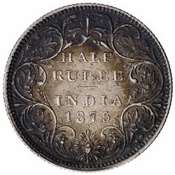 Silver Half Rupee Coin of Victoria Queen of Bombay Mint of 1875.